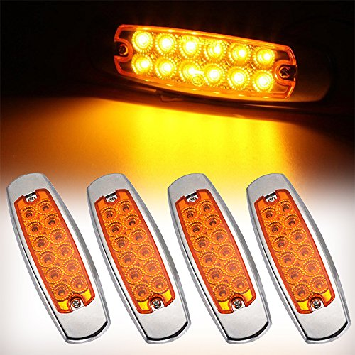 Led Marker Lights for Trucks Rear Side Marker Lamp Red Red Trailer Marker Lights Ultra Thin 12 LED Amber Side Marker Lights RV Marker light,Chrome Housing Surface Mount Cab Marker