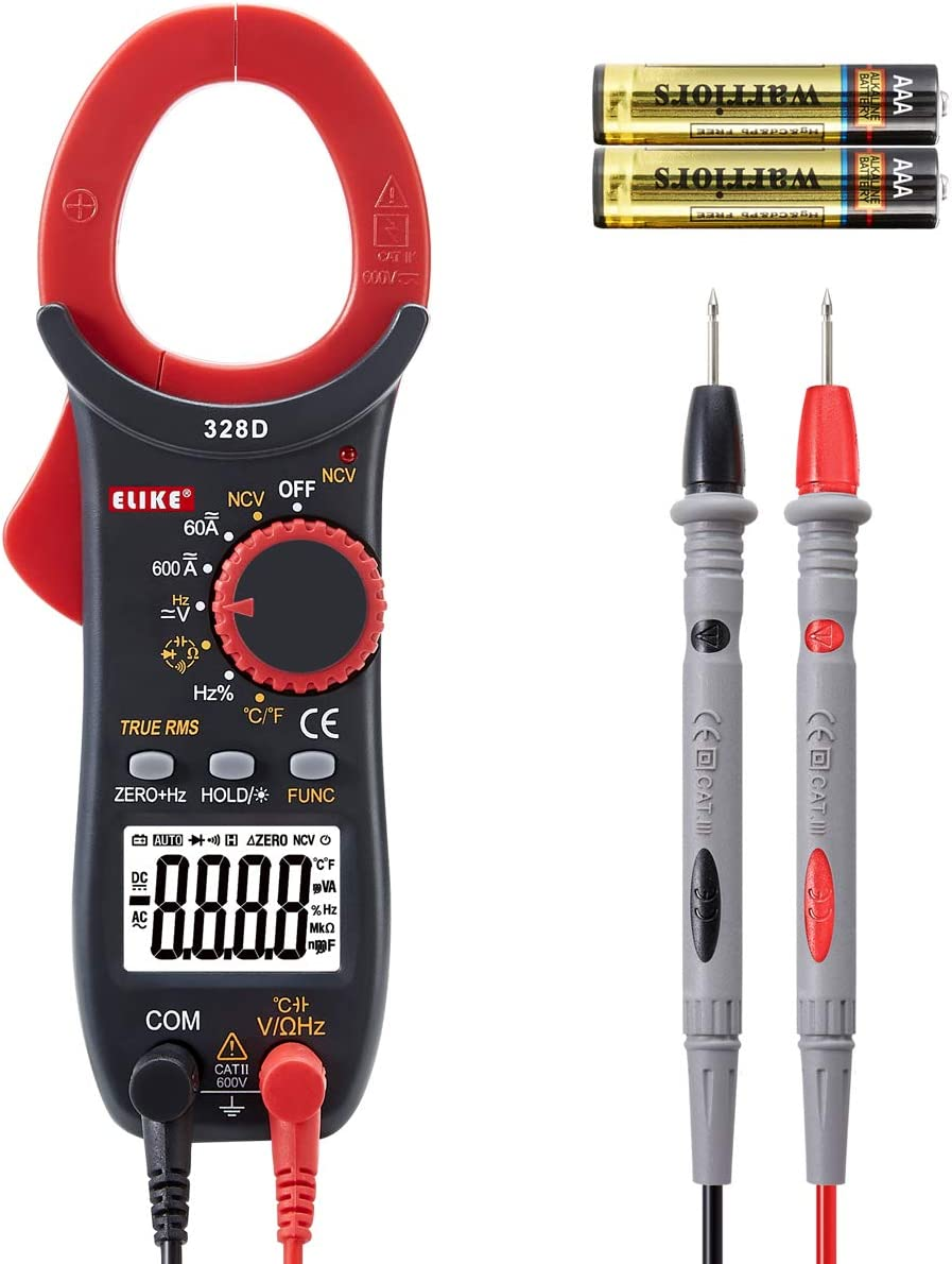 ELIKE AC/DC Current Digital Clamp Meter,Multimeter with True RMS,NCV,Diode,Continuity,Temperature,Frequency and Capacitance Tester,Auto-Ranging,328D