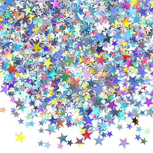 60 g Star Confetti Glitter Star Table Confetti Metallic Foil Stars for Party Wedding Festival Decorations (Holographic Silver, 10mm and 6mm) (G Star Kids)