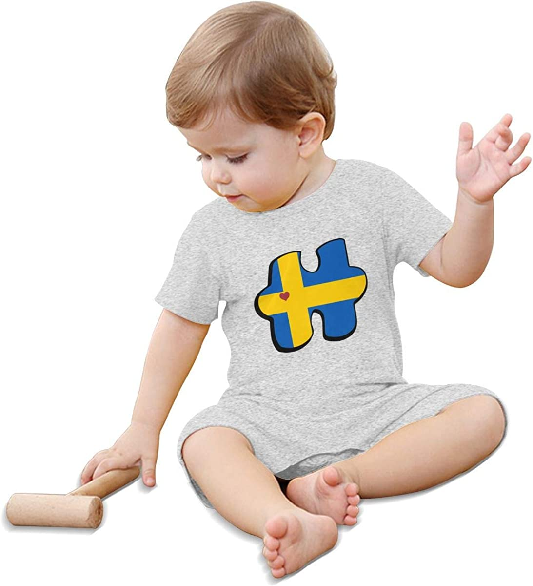 Autism Awareness Swedish Flag Puzzle Baby Boys Short Sleeved Coveralls One Piece Baby Clothes