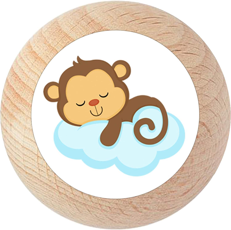 Poign/ée de meuble /« singe Wolke /» en bois de h/être pour chambre denfant 1 pi/èce de r/êve animaux de la jungle enfant sauvage