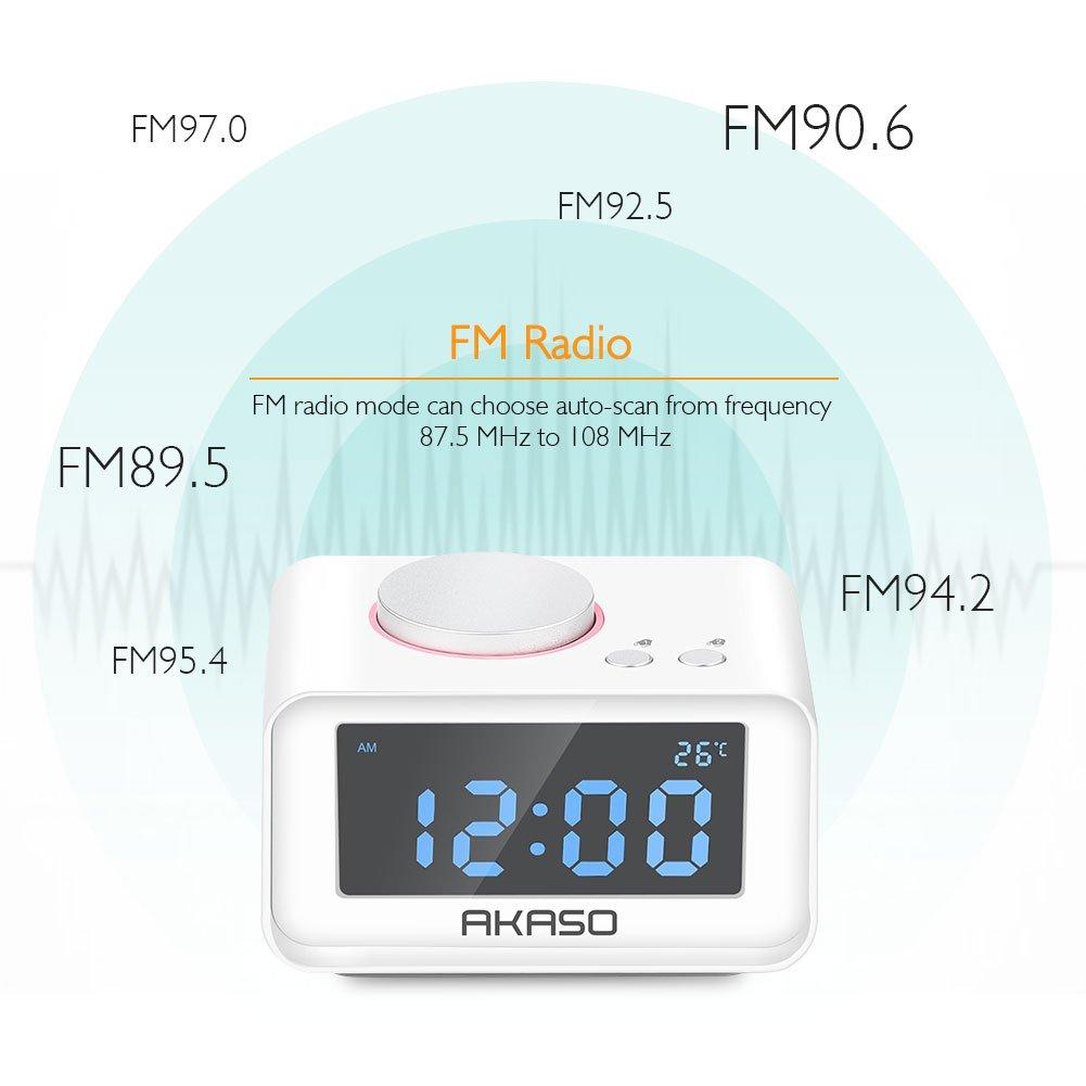 Amazon.com: Alarm Clock Radio, AKASO Digital Alarm Clock for Bedroom ...