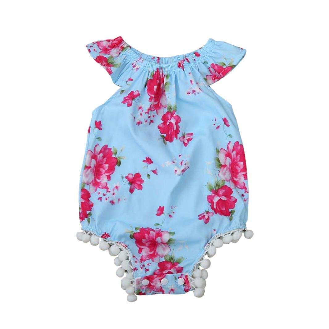 Clearance!!! Hevoiok Infant Toddler Baby Girls Romper Cute Fashion Floral Print Sleeveless Tassel Jumpsuits