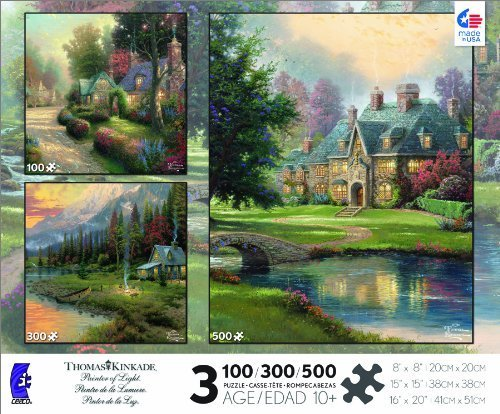 Thomas Kinkade 3-in-1 Multi Pack: Cobblestone Lane, Evening Majesty, Lakeside Manor Jigsaw Puzzle by Ceaco