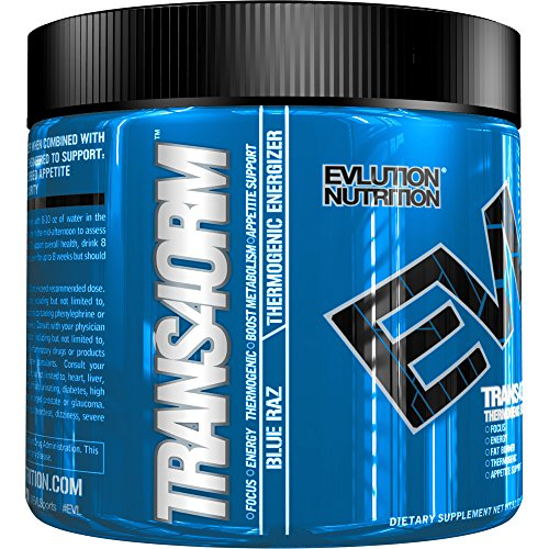 Evlution Nutrition Trans4orm Thermogenic Energizing Fat Burner Supplement, Increase Weight Loss, Energy and Intense Focus (30 Serving Blue Raz Powder) by Evlution