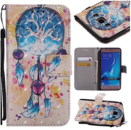 Para Apple Samsung Galaxy J5 2017/J530 (Euro edition) Funda, Ecoway Pintado en 3D Cuero de la PU Leather Cubierta , Función de Soporte Billetera con Tapa para Tarjetas Soporte para Teléfono - Niña Campánula