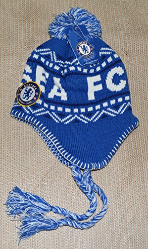 Chelsea Fc Beanie Peruvian Soccer New ! 2014-2015 Official Skull Cap Hat Winter Authentic (BLUE-WHITE) by Rhinox