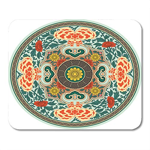 """Emvency Mouse Pads Ancient Plate Chinese Traditional Pattern Rosette China Oriental Mouse Pad 9.5"""" x 7.9"""" for Notebooks,Desktop Computers Mouse Mats, Office Supplies"""