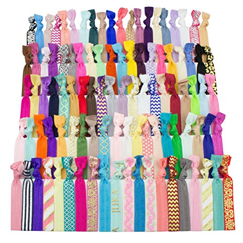 JLIKA Elastic Hair Ties (Set Of 100) Colorful Prints and Solids, No Crease Ouchless Ponytail Holders, Ribbon Hairties for Women Girls Teens and (Black Long Wig With Two Braids)