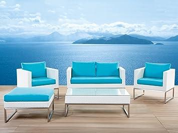 Salon de jardin - acier inox et rotin blanc - coussins turquoises ...