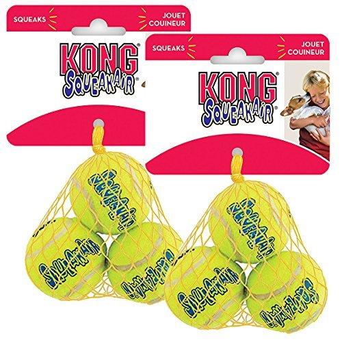 KONG Air Dog Squeakair Dog Toy Tennis Balls, X Small (6 Pack) (Kong Air Dog Balls)