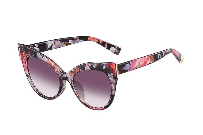 3e86148035a4 GRFISIA Oversized Cat Eye Frame UV400 Womens Sunglasses, Black Fashion  Trend Eyewear (Flower-
