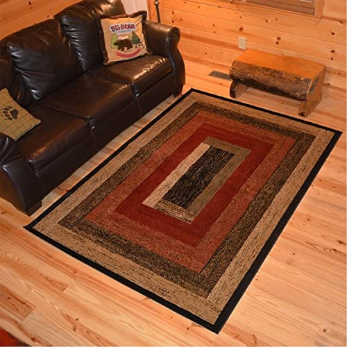 Rustic Lodge, Panel Area Rug, 94 W x 118 L, Multi 3783