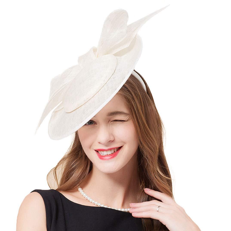 Women Fascinators Sinamay Derby Hat Linen Hat Church Headwear Vintage Kentucky Fascinator White