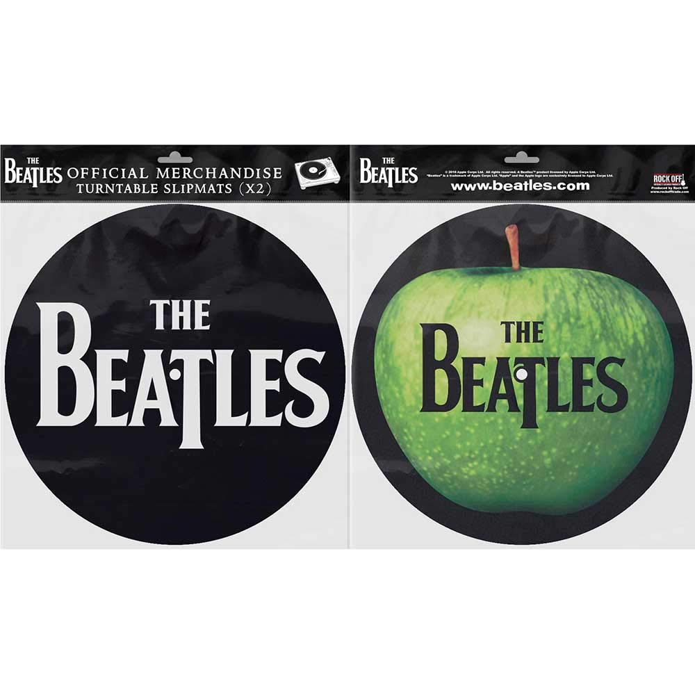The Beatles Official Apple And Drop T Logo Black Slipmats Turntable DJ Retro