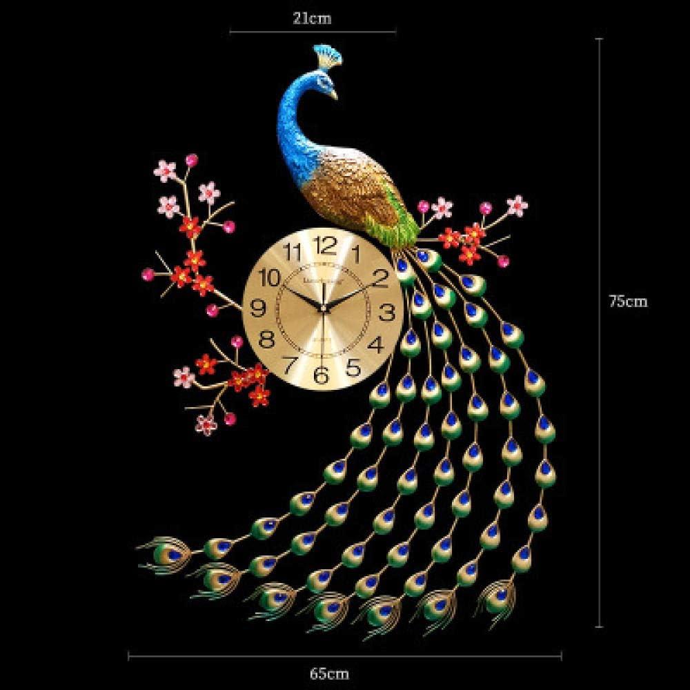 Big Diamond Quartz Gecko Peacock Reloj de Pared Moderno Simple Personalidad Creativa Sala de Estar Dormitorio Reloj Pared D