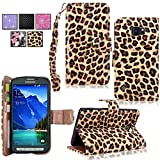 Galaxy S6 Active Case - Cellularvilla Pu Leather Wallet Flip Open Pocket ID Card Holder Slots Case Pouch Cover Fold Stand with Wrist Strap for Samsung Galaxy S6 Active SM-G890 (Brown_Leopard)
