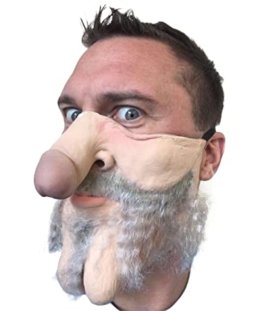 Hairy Grampa Dick Nose Willy Face Mask Grey Hung Bachelor Party Costume