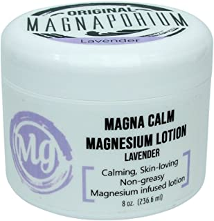product image for Magnesium Lotion Lavender 8 oz Magna Calm - Now with all Organic Oils Including Hemp! - Over 275 mg/tsp of Zechstein Seabed Magnesium Minerals (Lavender)