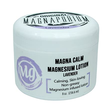 Magnesium Lotion Lavender 8 oz Magna Calm – Now with all Organic Oils Including Hemp – Over 275 mg tsp of Zechstein Seabed Magnesium Minerals Lavender