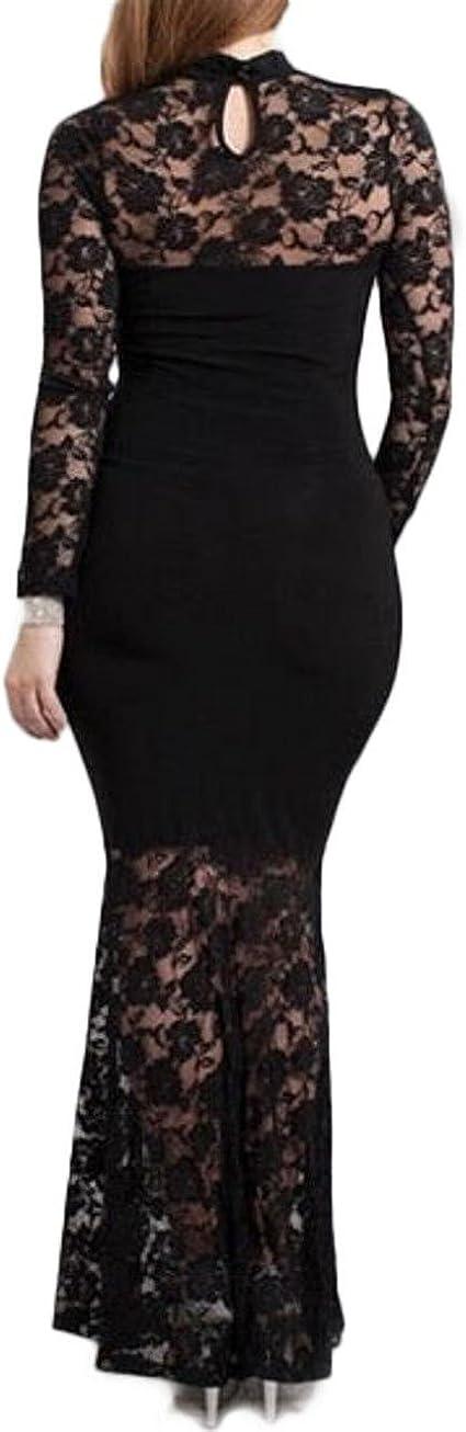 Plus Size Mermaid Lace Maxi Long Cocktail Dress