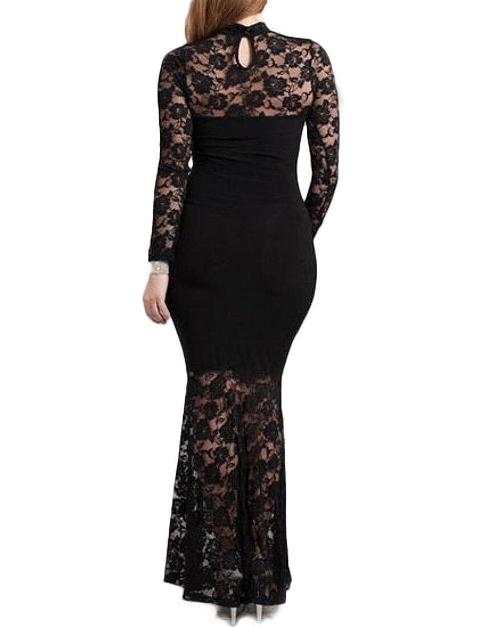 Red Dot Boutique 832 - Plus Size Mermaid Lace Maxi Long Cocktail ...