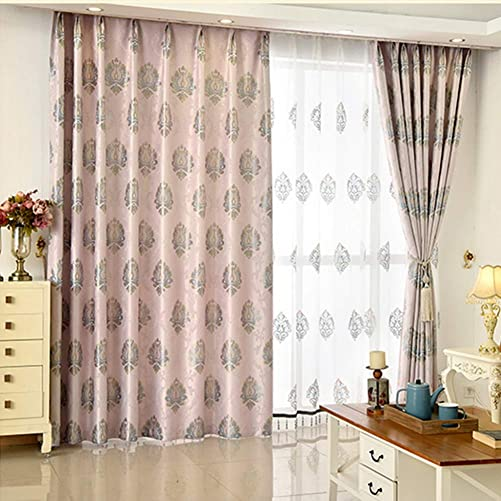 European Style Gold Pink and Grey-Blue Jacquard Blackout Curtain Panels Grommet Drape
