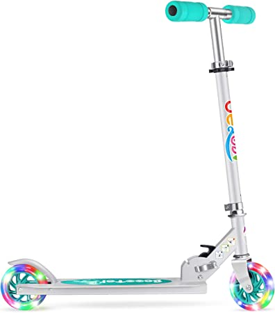 Beleev V1 Scooters for Kids 2 Wheel Folding Kick Scooter for Girls Boys, 3 Adjustable Height, Light Up Wheels for Children 3 to 14 Years Old