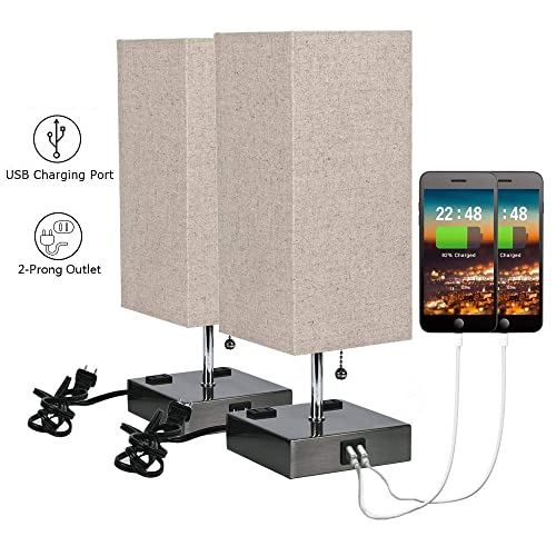 USB Bedside Table Lamp with 2 USB Charging Ports and 2 Outlets Power Strip,Black Sand Nickel Base with Flaxen Fabric Shade for Bedroom Nightstand Living Room 2 Packs