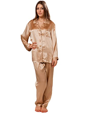 ElleSilk Womens Silk Pajamas, Premium Quality 100% Mulberry Silk, Super Soft, Champagne