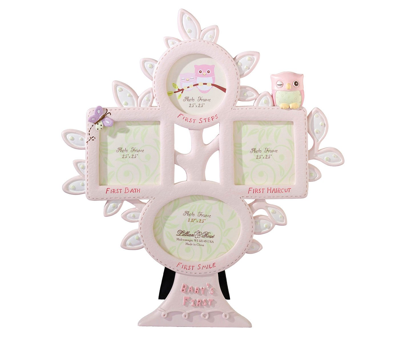 Lillian Rose 1st Year Picture Frame, Pink Owl, 10.5