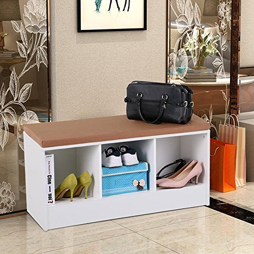 White Cube Entryway Shoe Storage Bench Organizer Shelf/Rack with Cushion Padded Seat Hallway Bedroom Furniture