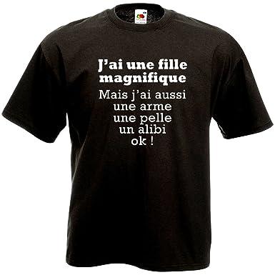 d698e3c6451b3 T-Shirt J Ai Une Fille Magnifique - Humour Père Jaloux Cadeau Jeune Papa