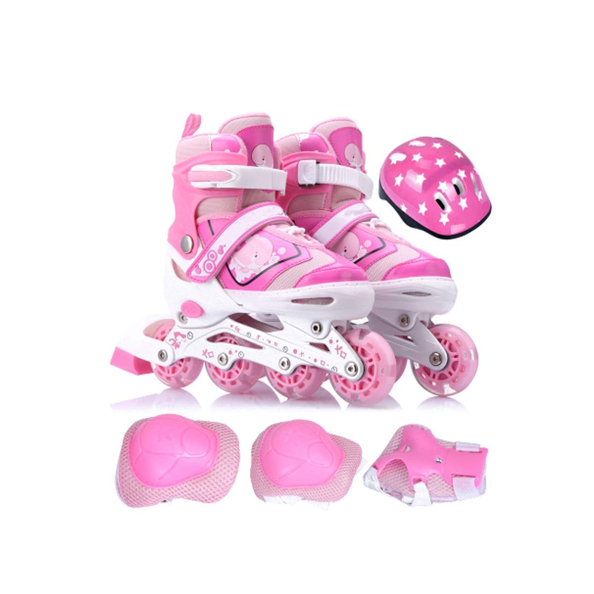 Hengxiang Fitness Inline Skates, Kid's Outdoor Skates, Four Wheels Adjustable Size, High Load Bearing Aluminum Bracket, PP Fiber Material Shoe Shell, Excellent Gift for 3 Years Old to Teenagers, Pink