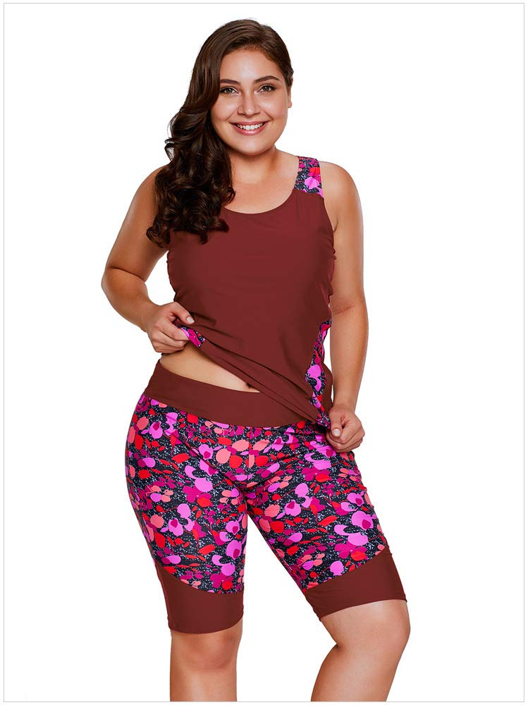 Red XXXL Plus Size Swimsuits for Women Tankini with Printed Patterns Decorations Mid Waist Shorts TwoPieces Sexy Bikini