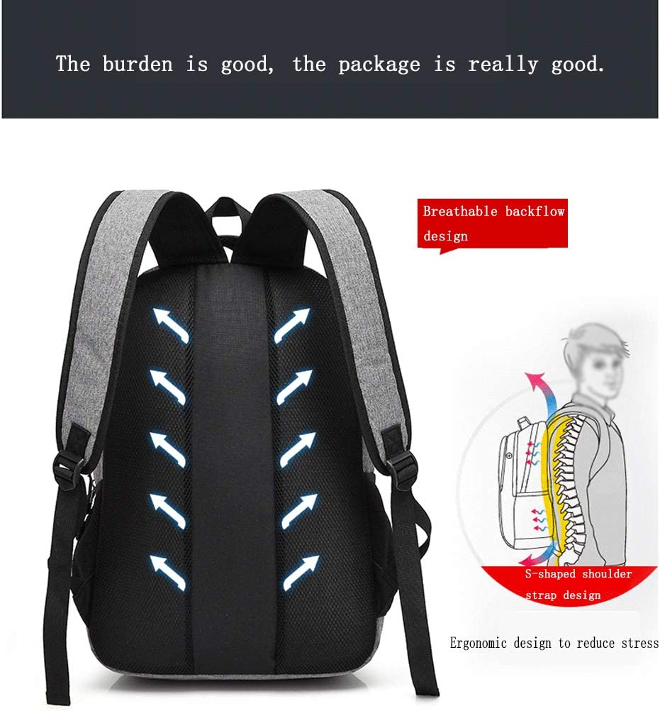 Backpack Male Fashion Trend Campus Bag Large Capacity Travel Leisure Computer Bag Korean High School Student Backpack Gray Black//Blue Pink//Wide 32CM High 46CM Thick 15CM