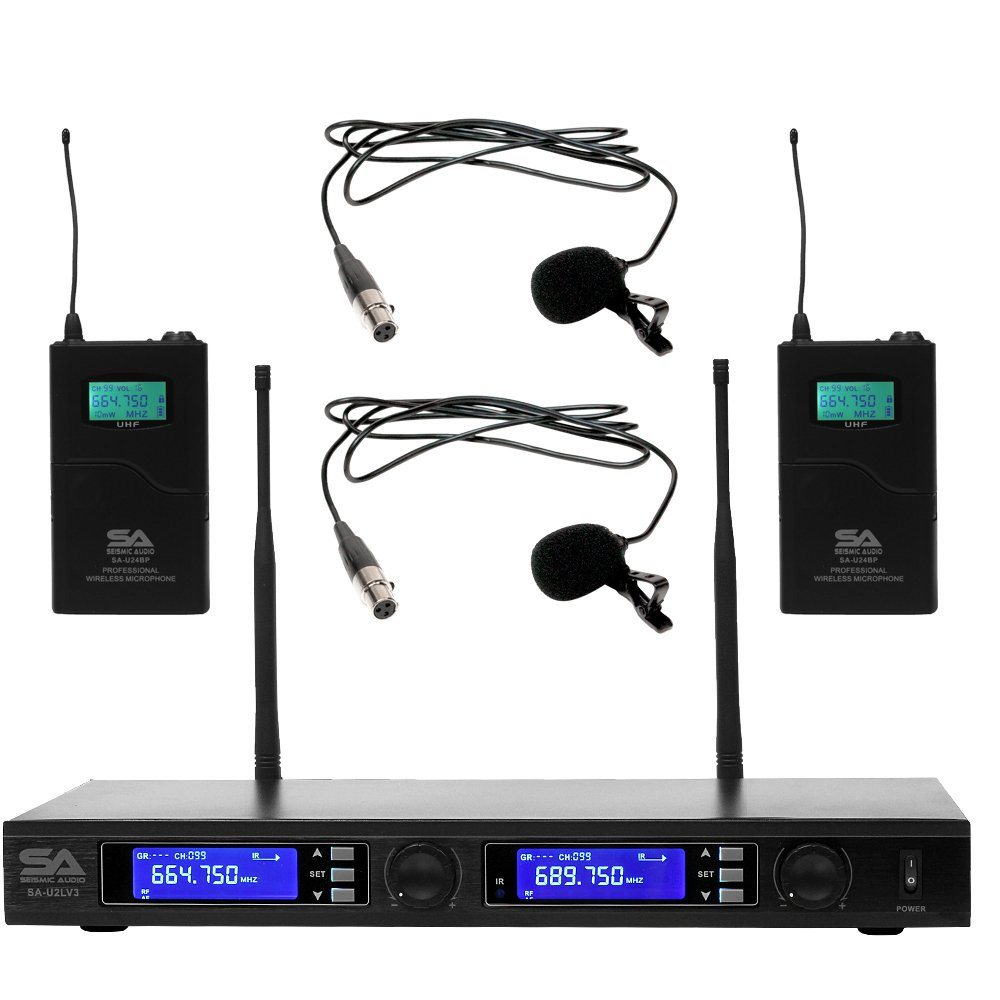Seismic Audio SA-U2LV3 2 Channel UHF Wireless Microphone System with 2 Lavalier Microphones