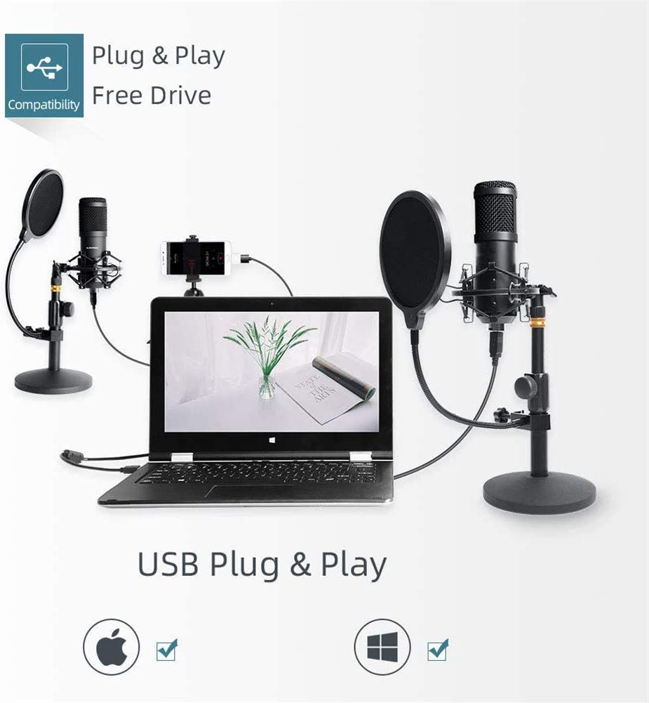 USB Streaming Podcast PC Microphone VeGue professional 192KHZ//24Bit Studio