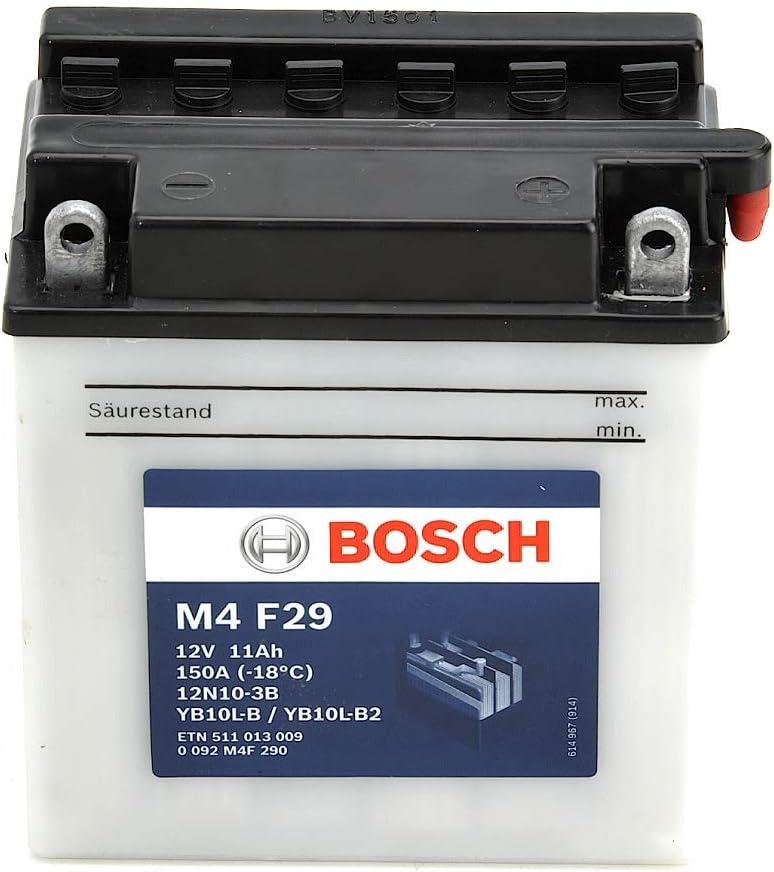 12V Plomo 11A//h-90A Bosch M4F29 Bater/ía motocicleta YB10L-B