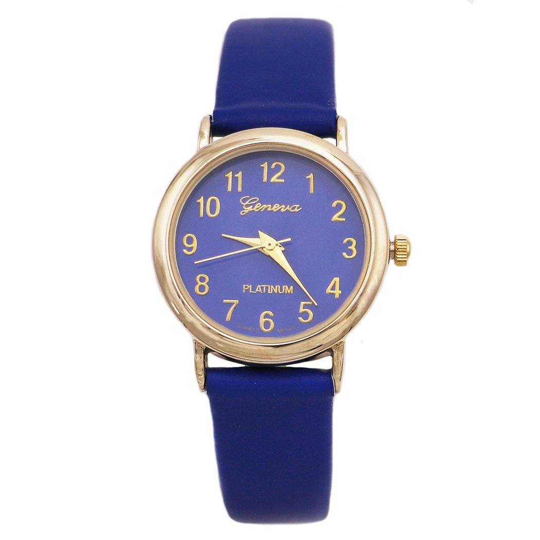 Rosemarie Collections Women's Leather Band Geneva Fashion Watch (Royal Blue)