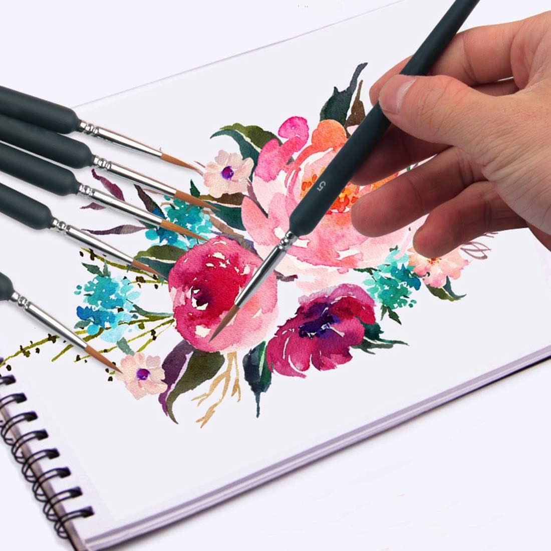 Noir O-Kinee D/étail Pinceau 10pcs Peinture Pinceaux Acrylique ave 1 Palettes Pinceaux Peinture pour La Peinture /à Laquarelle Gouache et Acrylique,Ld/éal pour des d/étails Minutieux et Finition