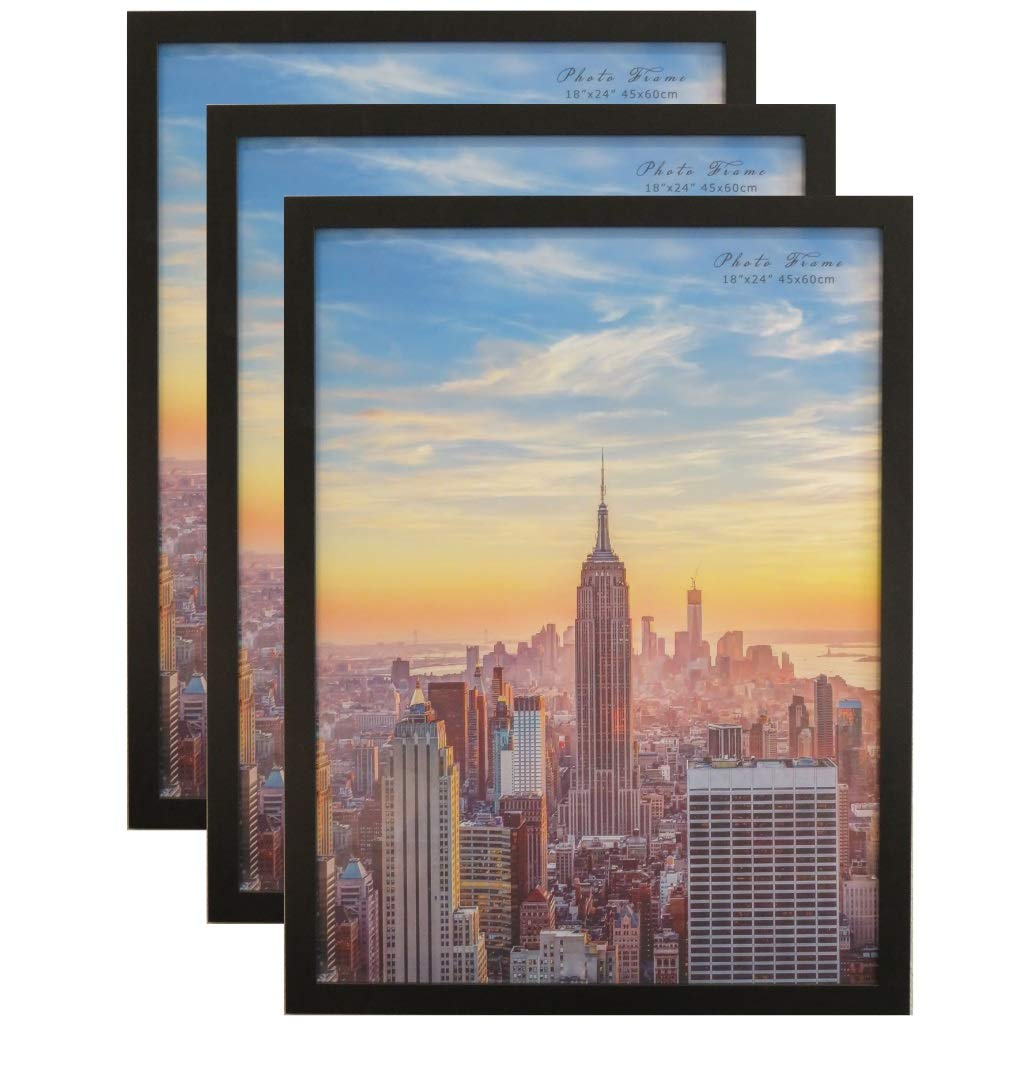 Frame Amo 18x24 Black Modern Wood Picture or Poster Frame, 1 inch Wide Border, 3-Pack