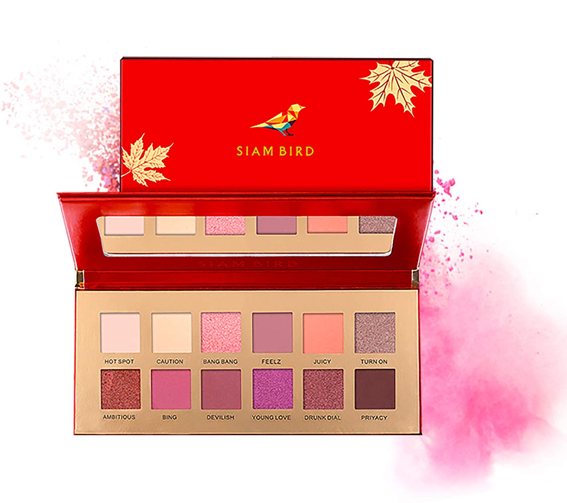 Sexy Eyeshadow Palette, 12 Colors Matte & Shimmer Eyeshadow Colors Natural Velvet Texture Lasting and Hight Pigmented Cosmetic(Flame Cherry)…