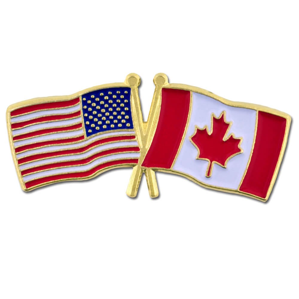 PinMart's USA and Canada Crossed Friendship Flag Enamel Lapel Pin