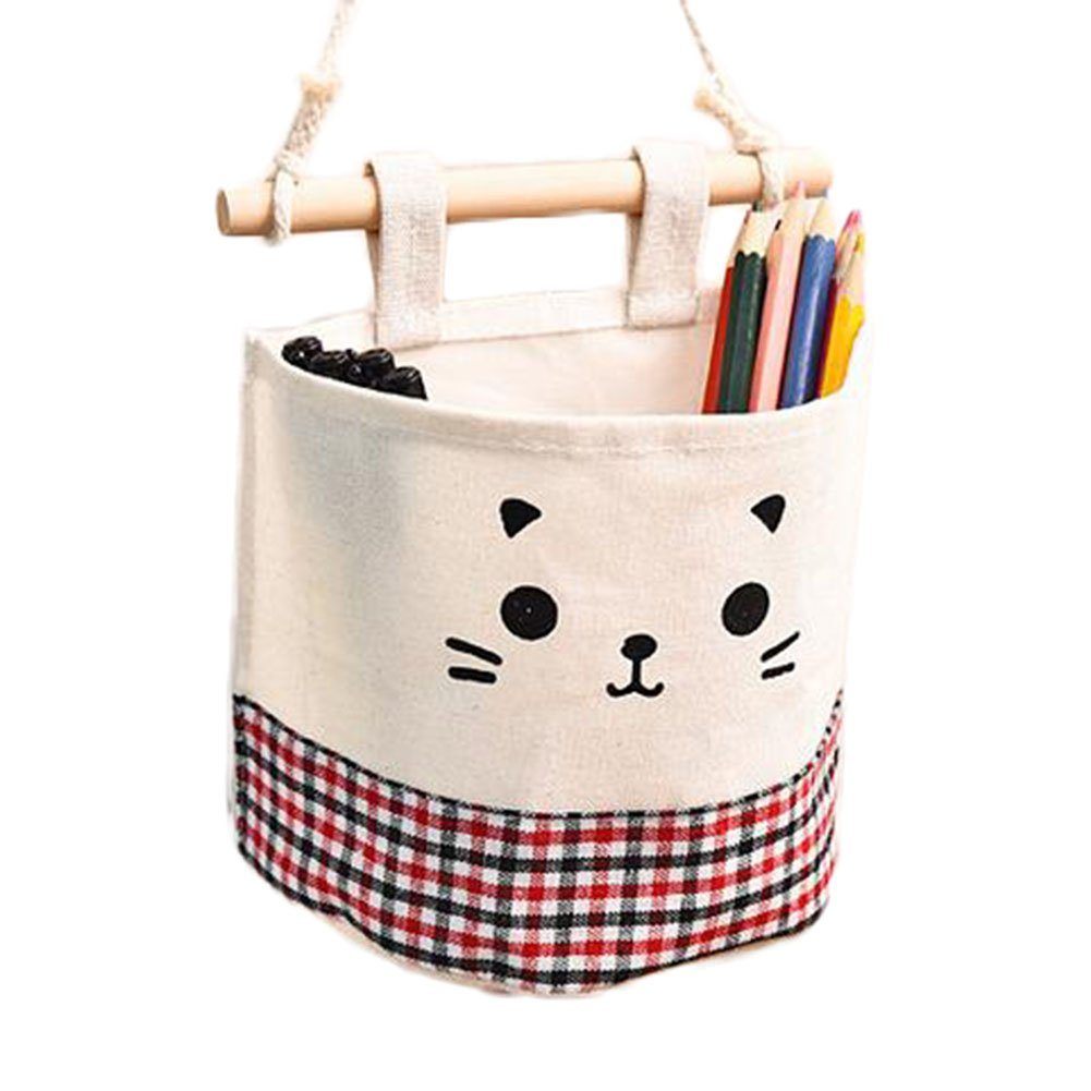 Da.Wa Linen Cotton Single Organizer Bag Hanging Pocket Wall-mounted Storage Basket Bucket Makeup Cosmetic Holder (Black Dots)