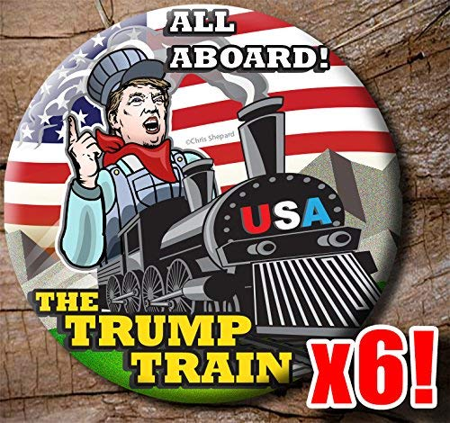 All Aboard The Trump Train Rally Pack Buttons - Six Donald Trump 2020 Campaign Badges - 2.25 Inch Big Pinbacks - Railroad -