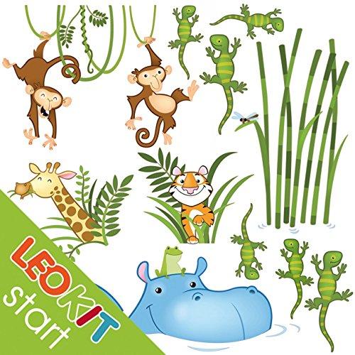 leostickers®-leokit Dschungels: Wandsticker für Kinder. 12Klebstoffe für professionellen Kinderzimmer des Babys. Madagassische, Tiger, Giraffe, Affen, Geckos... transormez die Ihr Kinderzimmer in ein