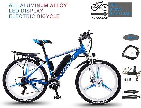 YRXWAN Bicicleta eléctrica de montaña Plegable de 26 para Adultos 36V 350W 13AH Batería extraíble de Iones de Litio Bicicleta eléctrica para Ciclismo al Aire Libre,Azul,10AH65KM: Amazon.es: Deportes y aire libre