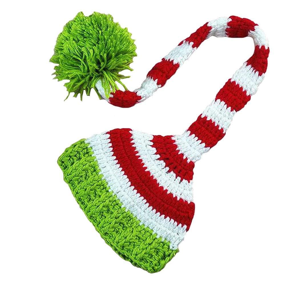 DELEY Bebé Crochet Tejer Navidad Elf Largas Colas Pompón Sombrero de ...