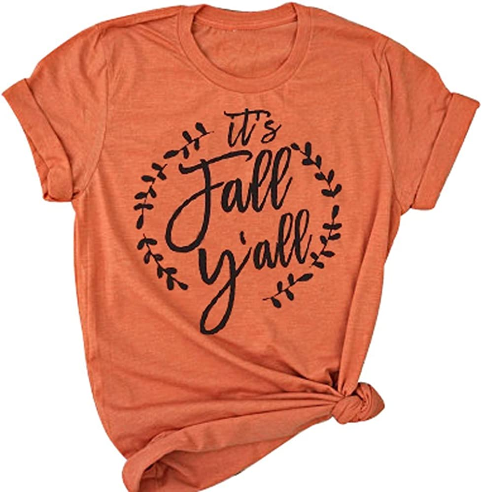 1fa09baa8 YUYUEYUE It's Fall Y'all Shirt Women Halloween T-Shirt Casual Short Sleeve  Letter